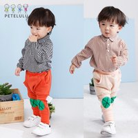 Wholesale Shirts New Style For Boys - New INS Boys T-shirts Tops Shirts Long Sleeve Plaid Pattern Boy Shirts T Shirt Rompers For Baby Boy 1-2-3Y Black Khaki A7968