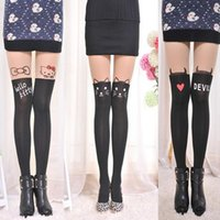 Wholesale Cat Pantyhose Over Knee - Wholesale- Fashionable Women Nylon Cute Cat Knee High Tights Styles Tattoo Stockings Girls Sexy Pantyhose Over Knee Stockings