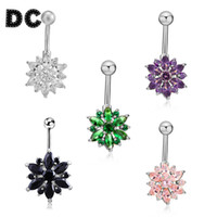 Wholesale Pink Green Flower Ring - DC 1pcs lot Fashion Copper Gold Silver Color Green Pink Zircon Rhinestone Flower Piercing Navel Bell Button Rings Body Jewelry
