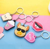 Wholesale Double Heart Keychain - Good A++ Birthday small gift creative double - sided cartoon silicone keychain custom gift pendant KR240 Keychains mix order 20 pieces a lot