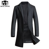 Wholesale Wool Single Breasted Coat Mens - Wholesale- Miacawor New Winter Men Wool Trench Jacket Business Long Trench Coat men European Style Mens Overcoat Windbreaker MJ376