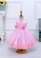 Wholesale Evening Pageant Dresses For Kids - New short pageant dresses for girls first communion dress kids evening gowns princess pink ivory flower girl dress