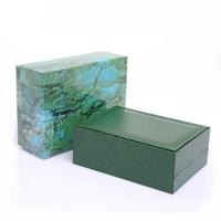 cajas de madera para el envío al por mayor-El envío libre mira la caja de regalo de las cajas de madera verde El reloj de madera encajona la caja de los relojes de cuero