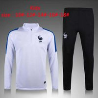Wholesale Boys Foot Wear - kids French training suit 2017 2016 Euro Cup maillot de foot French national football training wear long sleeved tracksuit