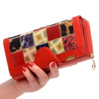 Wholesale Purple Colour Photo - Women Wallet Card Holder Hand bags Patchwork Genuine Leather Long Purse Wallet Female Clutches 5 colours Free Shipping
