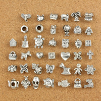 Wholesale Loose Metal Spikes - 40pcs lot Mix Style silver plated Big Hole Loose Beads metal charms For Pandora DIY Jewelry Bracelet For European charms Bracelet&Necklace