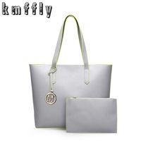 Wholesale Gray Clutch Handbag - Women Handbags Pu Leather Composite Bags Big Gray Shoulder Bag Designer Bags Handbags Women Famous Brands Set Tote+Clutch Bag