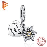 925 jóias de floco de neve de prata venda por atacado-BELAWANG 925 Sterling Silver HeartSnowflake Encantos com CZ