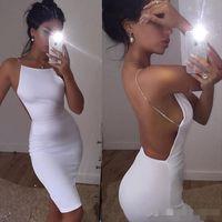 7792859371c8 2017 New White Cheap Short Cocktail Dresses Sheath Halter Sleeveless Open  Back Mini Short Satin Jersey Short Prom Dresses Party Gowns ...