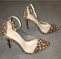 Wholesale Dancing Shoes Buckles - Sexy Leopard Printing and PVC high heels ankle buckle strap pumps pointed toe party dance dress shoes women Stiletto high heels