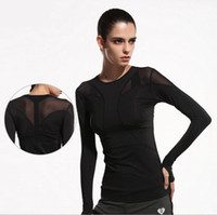 Wholesale Ladies Tennis Clothes - Women's Longsleeve Summer Sport Fitness Yoga Quick-drying T-shirt Workout Clothes Tennis Lady Girl Shirt Clothes