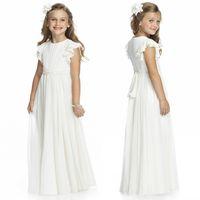 şifon fıstık çiçek kız elbiseleri toptan satış-Fildişi Şifon Uzun Kat Uzunluk Çiçek Kız Elbise Düğün İçin 2017 Bir Çizgi Kısa Kollu Custom Made Ucuz İlk Communion Abiye