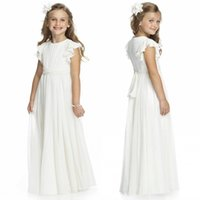 Wholesale light blue chiffon short graduation dress - Ivory Chiffon Long Floor Length Flower Girls Dresses For Weddings 2017 A Line Short Sleeve Custom Made Cheap First Communion Gowns