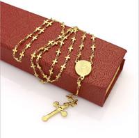 mary colares venda por atacado-Retro clássico jesus cruz titanium aço colar de pingente de moda virgem maria tag colar