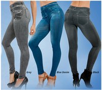 Wholesale ankle shop - Europe and the United States TV shopping explosion women's pants stamp really POCKET DENIM Leggings short bunch of seamless Leggings