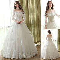 Wholesale best ball gown wedding dresses for sale - Lace Ball Gown Off the Shoulder Wedding Dresses Boat Neck Sleeve Custom Made Plus Size Bridal Gowns Best Quality