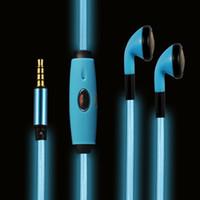 blinkende led-telefon-ladegerät großhandel-Universal-LED-Kopfhörer-Headset In-Ear-LED blinkt Stereo-Kopfhörer glänzend blinkt mit USB-Ladegerät für Handy MP3 MP4 Tablet PC