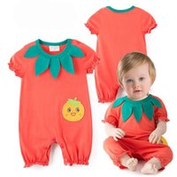 Wholesale Cheap Sleeve Jumpsuits - Fashion Cheap Cute orange Girls short sleeve pumpkin Romper Baby Onesies Bodysuits Newborn Clothes Jumpsuit One Piece Clothing Lovekiss A65