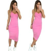Wholesale Strechy Dresses - #1 Women Fashion Sexy Round Neck Bodycon Strechy Dress 2017 New Solid 4 Colors Mid-Calf Package Hip Dress Vestidos Plus Size X0181