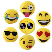 Wholesale Soft Emoji Pillow Stuffed Plush Yellow Round Decorative Pillow Smiley or Poo Shape Cushion Pillows Funny Stuffed Bolster Cushions