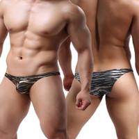 Wholesale Silver Thong Panties - Hot Style Men's Sexy Briefs G-strings Thongs Exotic Gold Silver Leopard panties Underwear T-back Jocks JJSOX ,4pcs lot
