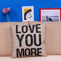 Wholesale gift pillow love - Cute Cushion Cover Home Decoration LOVE YOU MORE Letters Print Throw Pillow Case Square Pillowcase Christmas Decor Gift Home Textiles