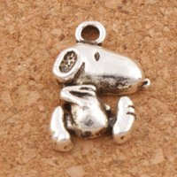 Wholesale Dogs Earring - Cute Dog Charms Pendants 200Pcs lot 11.6x16.7mm Antique Silver Fashion Jewelry DIY Fit Bracelets Necklace Earrings L182