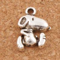 köpek antik gümüş kolye toptan satış-Sevimli Köpek Charms Kolye 200 Adet / grup 11.6x16.7mm Antik Gümüş Moda Takı DIY Fit Bilezikler Kolye Küpe L182