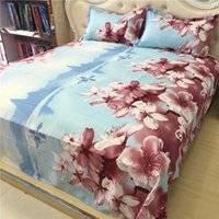 Barato Conjuntos De Cama De Pessegueiro-2017 New Fashion Peach Blossom Padrão 3D Bedding Set Textiles para casa Twin Queen Cama king size Lençois Quilt Travesseiro Case 4PCS por atacado