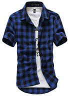 Wholesale Cheap Mens Plaid Shorts - Red And Black Plaid Shirt Men Shirts 2016 New Summer Fashion Chemise Homme Mens Checkered Shirts Short Sleeve Shirt Men Cheap