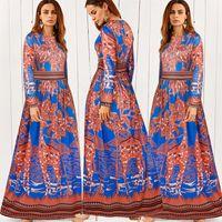 Wholesale Cheap Fashion Clothes Women - Europe Dresses women clothes bohemian dresses fashion flower print chiffon dress summer long plus size casual maxi cheap dresses for women