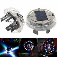 Wholesale Solar Car Wheels - 4 Mode RGB Color Solar Wheel Lights LED Light Solar Wheel Lamps LED Car Wheel Decoration LED Light For Ford Focus Universal Cars