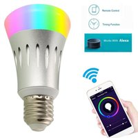 Wholesale E27 WiFi Smart LED Light Bulb Color Changing Works With APP Amazon Alexa Echo Dot DHL