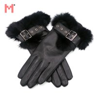 Wholesale Black Lambskin Gloves - Womens Rabbit Fur Lambskin Leather Gloves, Ladies Fashion Leather Gloves, Real Leather Gloves