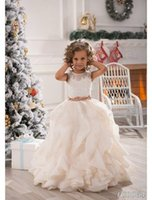 Wholesale Ivory Applique Ruffle - 2016 Flower Girls Dresses for Weddings Jewel Girls Pageant Dresses Lace Applique Organza Ruffles Long girl Princess Ivory party Gowns Custom