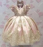 Wholesale Hot Graduation Dresses White Short - Hot Sale Newest Blush Pink Cap Short Sleeve Satin Flower Girl Dresses Appliques Kids Pageant Dresses A-line Bow Lace Baby Party Dress 2017