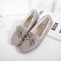 Chaussures Women Villus Doublure Handmade Flats Manteaux Suture Lady Driving Shoes Soft Moccasins Ballet Flat Butterfly Knot Sandals Round Toe Slide