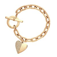 Wholesale Love Tone - New York Fashion Brand Tone letters bracelet Crystal love heart charm bracelets fashion wedding Jewellery brand jewelry for women