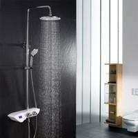 Wholesale Sliding Shower Faucets - Bath Shower Faucet Rainfall Thermostatic Shower Set With Massage Handled Shower Digital Display Valve Slide