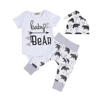 ingrosso set di pantaloni per neonati-Set di abbigliamento neonato Set di pantaloni per bambina Tute per bebè Baby Hat 3 pezzi Set di abiti per la casa