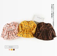 Wholesale Girls Simple Cotton Dresses - Ins Fashion Girl Lolita Dress pet pan collar long sleeve full flower print cashmere thick dress 100% cotton girl dress elegant simple style