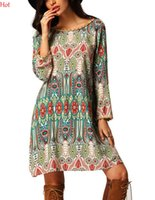 Wholesale Dresses Shift Cotton - New Plus Size Vintage Printed Dress Women Long Sleeve Loose Style Shift Dress Multi-colors Tassels Casual Beach Mini Dress Sale SVH031280