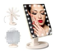 Wholesale 360 Degree Rotation Touch Screen Square Make Up LED Mirror Cosmetic Folding Portable Compact Pocket With LEDs Lights Makeup Tool