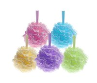 Wholesale Exfoliating Cleaner - Bath Pouf Large Mesh & Lace Trim Shower Sponge Exfoliating Cleanse Soothe Skin Loofah Luffa Body puff Mesh Body Scrubber Bath Pouf