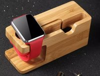 aufladung telefonständer großhandel-Neueste neueste Ladeplattform für Apple Watch Stand Station für Apple Watch für iPhone Bambus Holz Handyhalter Stand