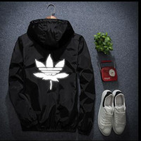 Wholesale Men S Jacket 7xl - off white justin latest burst trend men and women models maple leaf reflective sweater long sleeve kanye west jacket large size S-7XL