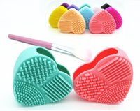 Wholesale Clean Hearts - Fashion Brush Egg Cleaning Heart Shape Makeup Washing Brush Pad Silicone Glove Scrubber Cosmetic Foundation Powder Clean Tools