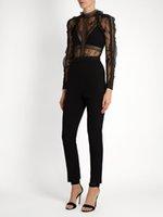 Wholesale Womens Jumpsuits New Arrivals - Wholesale- self portrait jumpsuits 2017 new arrival lace rompers womens jumpsuit long ruffles sleeve black lace female jumpsuits newest