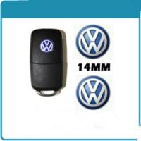 pegatinas de pasaporte al por mayor-Etiqueta engomada del emblema de la insignia del logotipo del llavero de 14m m VW para el polo de Bora Passat del golf de Volkswagen