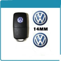vw bora polo passat al por mayor-Etiqueta engomada del emblema de la insignia del logotipo de Fob dominante de 14m m VW para el polo del Passat de Volkswagen Golf Bora
